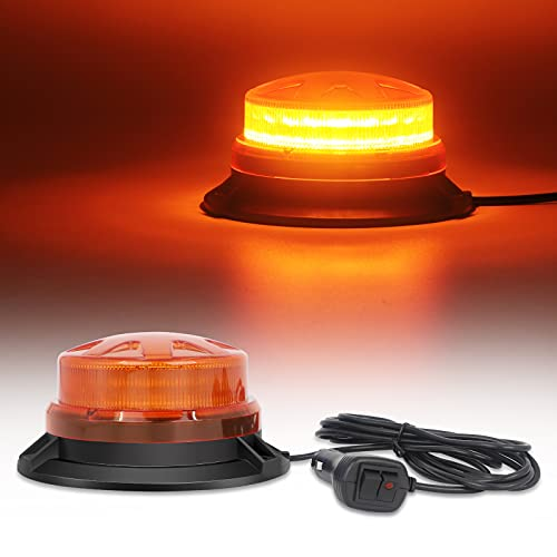 Emergency Strobe Beacon Lights Amber Warning Safety Flashing Roof Lights with Magnetic Mount and 8 Flash Modes for Vehicles Forklift Truck Tractor Golf Car Carts (24 LED 12V-24V)