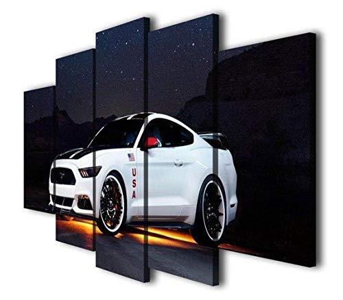 IKDBMUE 5 Pezzi Tela Stampa in Immagine Paesaggio Famiglia Ciondolo Decorativo Quadro Mustang GT Sport Car Moderno Sospeso HD Murale (H-55 cm x M/B-100 cm)