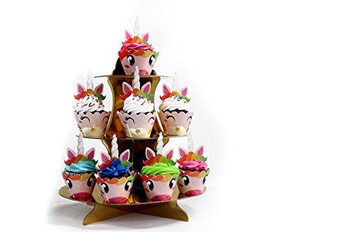 """3-Tier Gold Round Cardboard Cupcake Stand Dessert (12""""W x 13.5"""