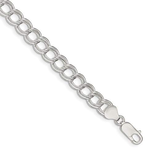925 Sterling Silver 7.5mm Double Link Charm Bracelet 6.5 Inch Fine Jewellery For Women Gifts For Her