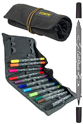 Online 11 Calli.Brush Double-Tip Pens mit Kalligrafie-Spitze 2 mm und flexibler Pinselspitze, intensive Farben, in Roll Pouch
