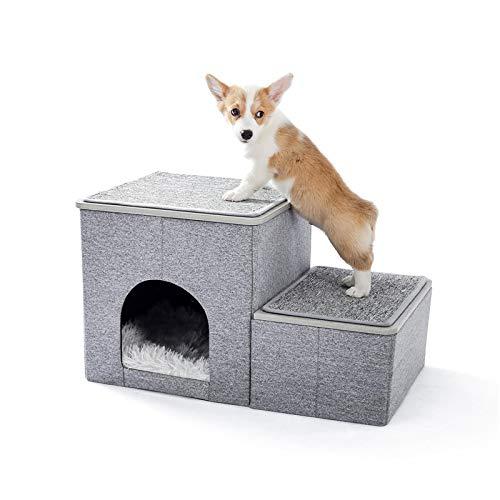 WWWL Camas para mascotas 2 en 1 escalones para perros, escalera portátil para el hogar con una casa de lujo, perro y gatos, rampa antideslizante extraíble para escalera, camas de 67,5 x 40 x 37,5 cm