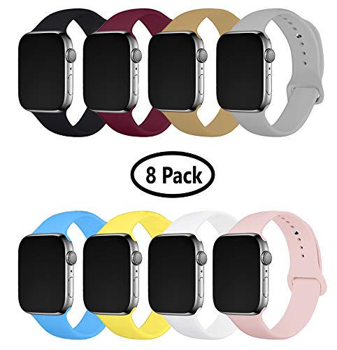 8 Pack Band for Apple Watch (38-40mm) (42-44mm), Soft Silicone Sport Strap Replacement Bracelet Wristband for Apple Watch Series 5,4,3,2,1, Nike+, S/M M/L Sizes (Multicolor 3, 42-44 mm S/M)