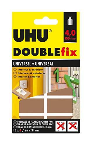 Uhu Doublefix Ultra Fort Universel en Pastilles Adhésives, Résistance à 4 Kg - 16 Pastilles