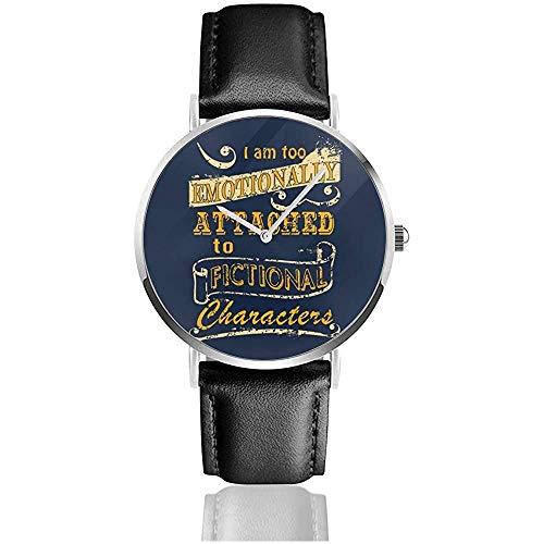 Unisex emotional an fiktiven Figuren befestigt Uhren Quarzlederuhr mit schwarzem Lederband