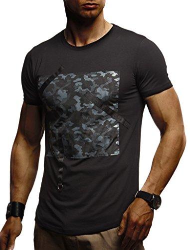 Leif Nelson heren zomer T-shirt Crew Neck Slim Neck katoen procent modern heren T-shirt Crew Neck