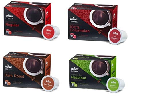Wawa Single Cup Coffee K-Cups for Keurig Brewers - 12 Count of each Hazelnut, Original, Dark Roast, & Columbian