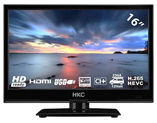 HKC 16M4: Televisor LED de 39,6 cm (15,6 Pulgadas) (HD-Ready, Triple Tuner, Ci+, Reproductor de Medios a través de USB 2.0, Cargador de Auto de 12 V)