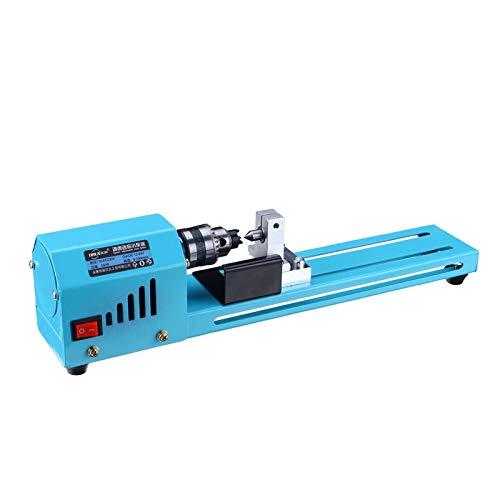 Portable Mini Lathe, 69pcs 150w 12v-24v Mini Lathe DIY Woodworking Lathe Grinding and Polishing Drill Bit Rotating Tool Hand Operated Tools (Color : Blue)