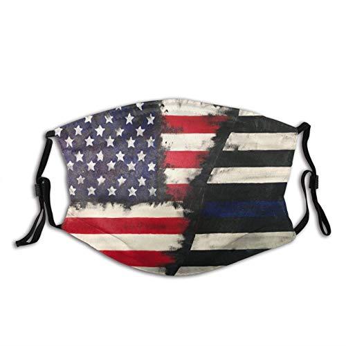 Bandera de la policía de la bandera americana delgada línea azul máscara de la cara bandanas pasamontañas, lavable transpirable con 2 filtros, para hombres y mujeres
