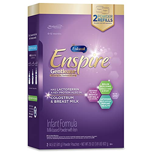 Enfamil Enspire Gentlease Infant Formula with Immune-Supporting Lactoferrin, Brain Building DHA, 5 Nutrient Benefits in 1 Formula, Eases Gas, Fussiness, Spit-up, Crying in 24 hours, Refill Box, 29 Oz