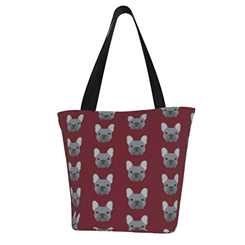 antcreptson Frenchie French Bulldog Canvas Tote Bag for Women Travel Work Shopping Grocery Top Handle Purses Large Totes Reusable Handbags Cotton Shoulder Bags for Women Travel Work Shopping Grocery