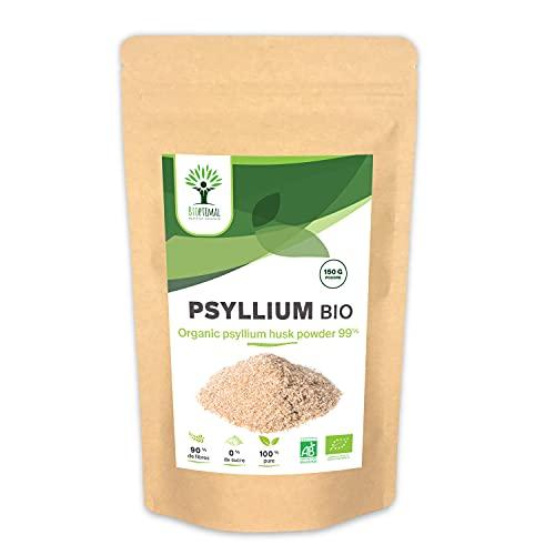 Psyllium Blond Bio - Bioptimal - Complément Alimentaire - Teguments de Psyllium en Poudre - Superaliment - Digestion Transit Coupe Faim - Origine Inde - Conditionné en France - Certifié Ecocert - 150g