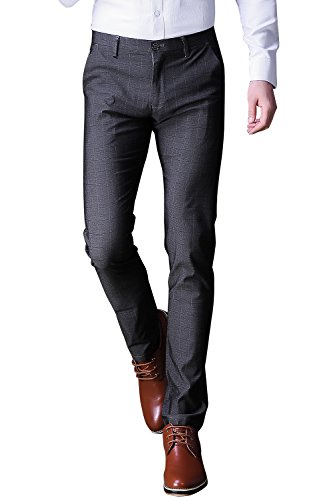 FLY HAWK Mens Business Casual Dress Pants Stretchy Straight Leg Dress Trousers Grey Slacks US Size 29
