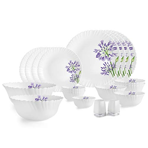 Cello Opalware Purple Verbena Dinner Set, White, 20 PCs