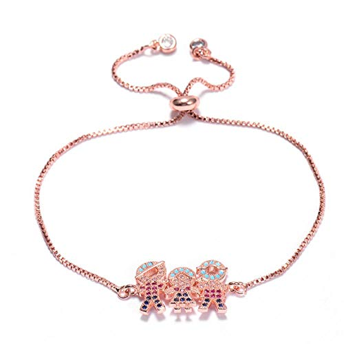 HappyL Family Cubic Zirconia Charm Bracelet Rose Gold Color Adjustable Chain Bracelet Women's Jewelry Men (Color : Rose gold)