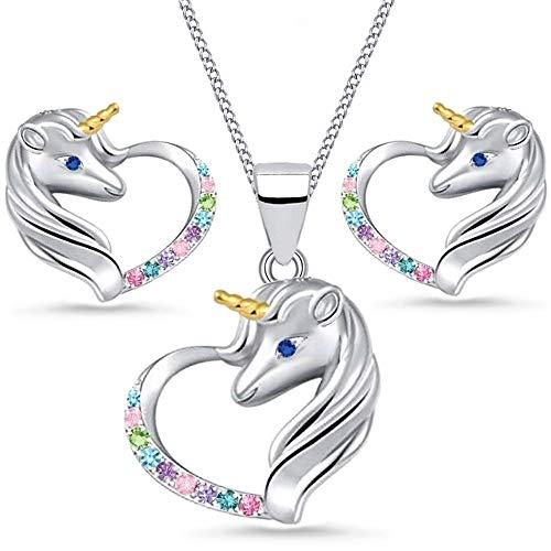 Einhorn Zirkonia Herz Damen Mädchen Kinder Schmuckset 925 Silber Pferde Ohrstecker (3er Set/Bunt)