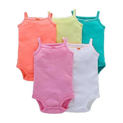 Bebé Body Pack de 5 - Mono Niñas Mameluco Manga Corta para Trajes Baño Ropa de Verano Algodón Pelele 6-9 Meses