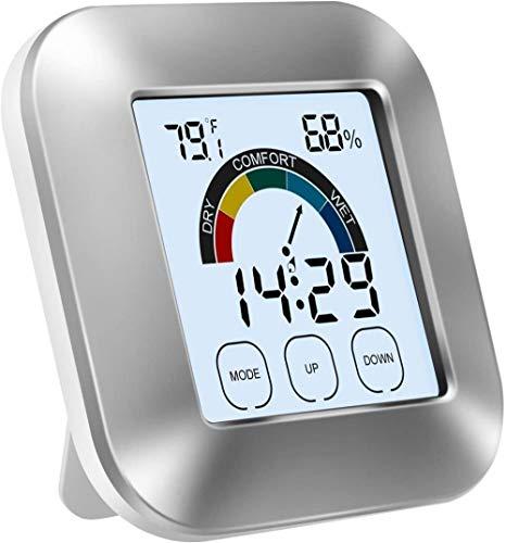 MYYINGELE Higrómetro Termómetro Medidor de Humedad Interior Reloj Despertador LED Digital Pantalla LCD de 2 7 Pulgadas con ° C / ° F Temperatura yHumedadFormato deAlarma de12/24 Horas