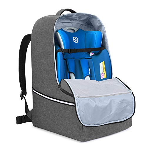 Teamoy Kindersitz Tasche, Kindersitztasche Flugzeug Gate Check, Transporttasche Reisetasche mit Rucksack für Kindersitz, Grau