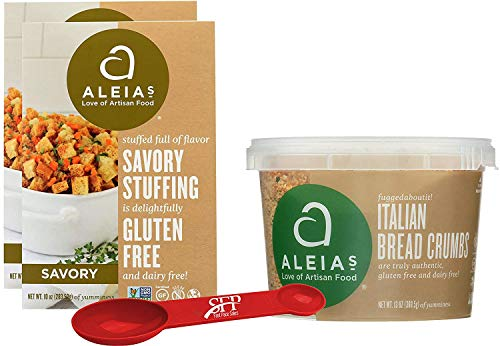 Gluten Free Variety Pack Includes: (2) Aleias Gluten Free Savory Stove Top Stuffing Mix, 10 Oz. (1) Aleias Gluten Free Bread Crumbs. Italian Breadcrumbs, 13 Oz. With a Measuring Spoon Included.
