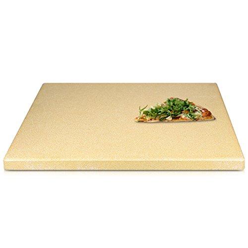 Navaris Pizzastein XXL für Backofen Grill aus Cordierit - Pizza Stein groß für Ofen Brot Backen Flammkuchen Gasgrill Herd Steinplatte eckig 45x35cm