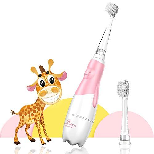 Elektrische Zahnbürste Baby & Kleinkinder von 0-3 Jahren, Erste Babyzahnbürste mit Smart LED Timer(Rosa)