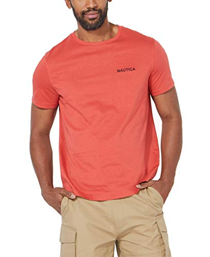 Nautica Men's Short Sleeve Crew Neck T-Shirt, Sunbaked red Solid, Large
