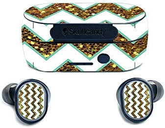 MightySkins Skin for Skullcandy Sesh True Wireless Earbuds Glitzy Chevron Protective Durable product image