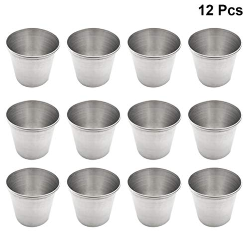 Amosfun 12 stücke Edelstahl Sauce tassen dip Sauce Tasse würze Sauce tassen (45 ml)