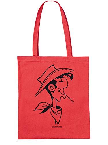 clothinx Einkaufstasche Lucky Luke – Retrokopf Rot/Schwarz