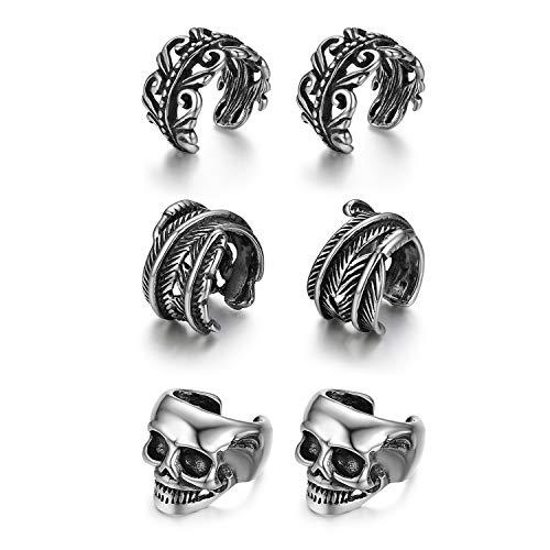 Set di 3 paia di orecchini a clip per uomo e donna, stile vintage, con motivo a foglie, orecchini a clip, colore argento