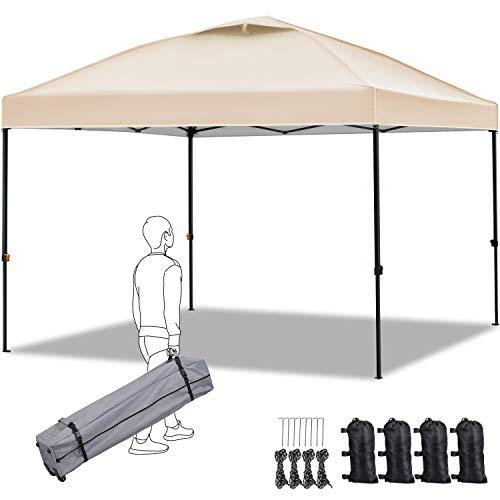 Yaheetech Carpa Plegable 3x3 Impermeable Cenador de Camping con Bolsa Ajustable Altura(257-277cm) para Camping Playa Terraza Boda Fiestas Beige