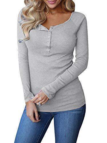 Remikstyt Womens Long Sleeve Henley Shirts Slim Tights Casual High Elasticity Tunic Grey