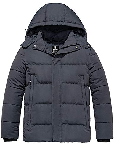 Wantdo Men Puffer Warm Winter Jacket with Removable Hood Dark Gray X-Large