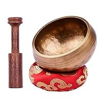 シンギングボウル チベットのシンギングボウルセットパターンボウル+木の棒+赤い四角いクッション 瞑想 治癒 弛緩用 心霊浄化 (Size:Type D; Color:As Shown)