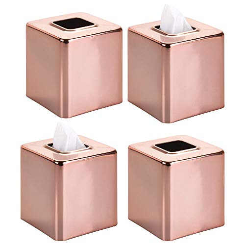mDesign Modern Square Metal Paper Facial Tissue Box Cover...