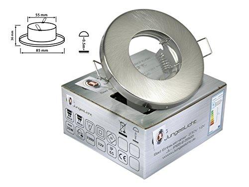 Bad Einbaustrahler Farbe Edelstahl gebürstet GU10 GU5,3 230V 12V geeignet für LEDs mit einem Durchmesser von 50mm IP65 Spritzwassergeschützt Spot Deckenlampe