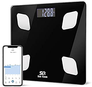 Bluetooth Body Fat Scale- Wireless Digital Bathroom Weight Scale- SR SunRoom Smart BMI Scale with 12 Essential Measurements and FDA Approved Body Composition Analyzer, Smartphone App…