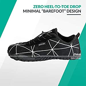 Ventury Zero Barefoot Trail Running Shoes - Minimalist Runners with Wide Toe Box, Zero Drop Sole and Odor-Free Insole with Real Silver for Men and Women (274MM - 9 M US - 10.5 W US, Black)