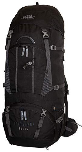 Tashev Outdoors Kentaurus Trekkingrucksack Wanderrucksack Damen Herren Backpacker Rucksack groß 80l Plus 15l Schwarz 2020 (Hergestellt in EU)