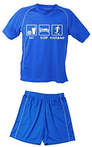 Coole-Fun-T-Shirts TRIKOTSET mit DEINEM Namen + Nummer ! Fussball EAT Sleep Football Kinder Trikot + Hose blau-blau, 122-128 cm