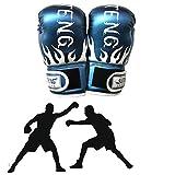 chunnron Guantes Kick Boxing Guantes Boxeo Hombre Guantes de Entrenamiento de Boxeo Adulto Guantes de Boxeo Bolsa de Boxeo Guantes Sparring Guantes Blue,Adult