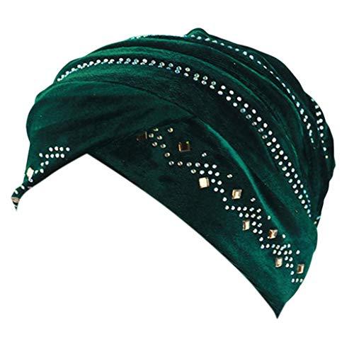 DOLDOA Hut Damen Sommer,Damen Perlen Turban Hut muslimischen Krebs Chemo Haarausfall Cap (Grün)