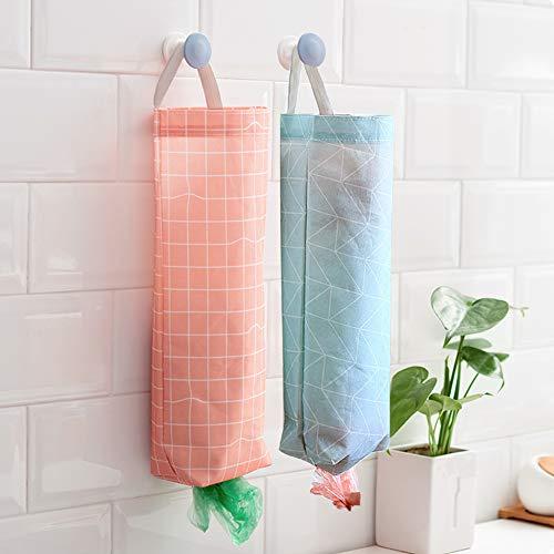 KINDPMA Plastic Bag Holder 2 Pcs Waterproof Wall Mount Grocery Bag Holder Dispenser Hanging Folding Trash Garbage Bag Organizer for Kitchen Bathroom Laundry