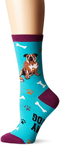 K. Bell Women's Dog Lover Novelty Casual Crew Socks, English Bulldog (Teal), Shoe Size: 4-10