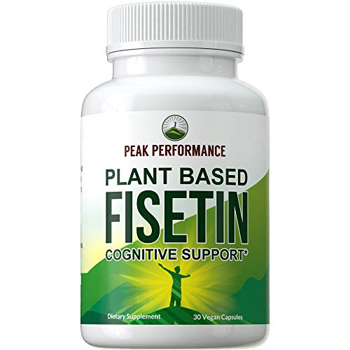 Fisetin Vegan Capsules by Peak Performance. Naturally Derived Bioflavonoid Supplement from Rhus Succedanea Plant Stem. for Cognitive Support with Antioxidant Rich Properties. 100mg Pills