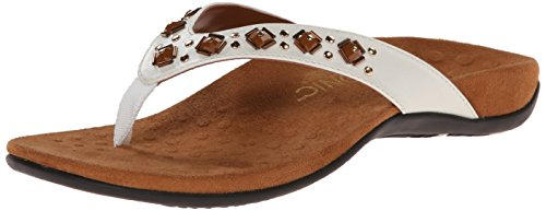 Vionic Women's Rest Floriana Toepost Sandal - Ladies Flip Flops with Concealed Orthotic Support White 8 M US