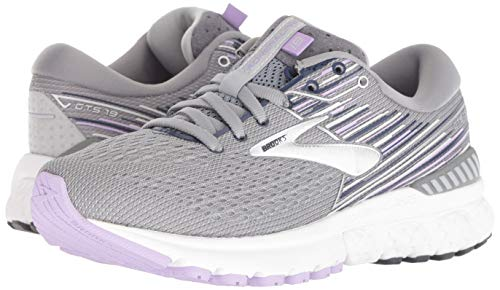 Brooks Womens Adrenaline GTS 19 Running Shoe - Grey/Lavender/Navy - B - 9.5 7