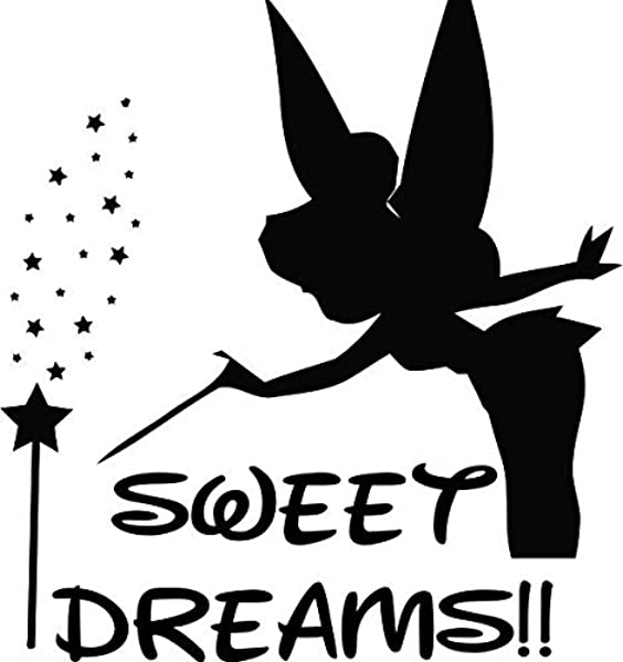 Tinkerbell Magic Disney Theme Sweet Dreams Baby Nursery Wall Decals For Babies Walls Bed Time Night Time Sleep Sleeping Kids Bedroom Art Vinyl Decor Stickers Ideas Designs Size 20x20 Inch